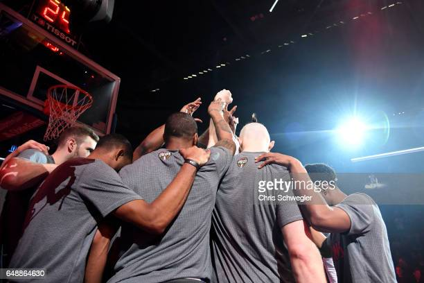 The Detroit Pistons huddle before the game against the Chicago Bulls on March 6 2017 at The Palace of Auburn Hills in Auburn Hills Michigan NOTE TO...