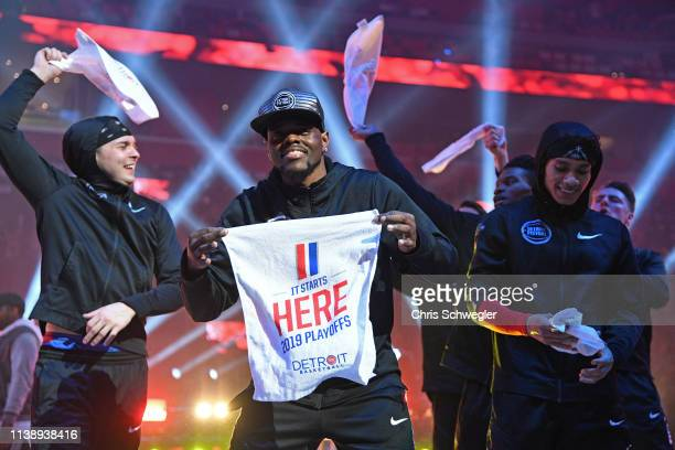 The Detroit Pistons hype team performs during Game Four of Round One of the 2019 NBA Playoffs against the Milwaukee Bucks on April 22 2019 at Little...