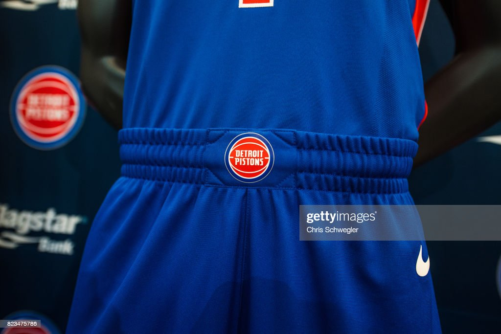 The Detroit Pistons introduce two new uniforms by Nike on July 26, 2017 at the Nike Store in Detroit, Michigan.