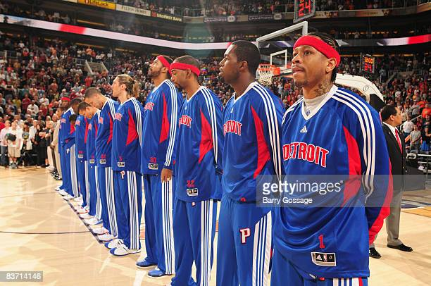The Detroit Pistons listen to the National Anthem as they prepare to play the Phoenix Suns in an NBA game played on November 16 at US Airway Center...