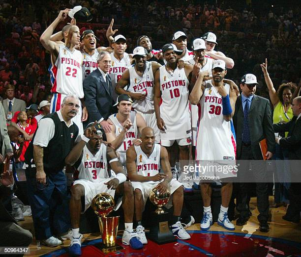 The Detroit Pistons pose for a team picture after defeating the Los Angeles Lakers in game five of the 2004 NBA Finals on June 15, 2004 at The Palace...