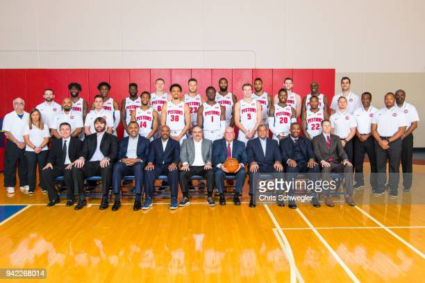 The Detroit Pistons pose for their team photo on April 3 2018 in Auburn Hills Michigan NOTE TO USER User expressly acknowledges and agrees that by...