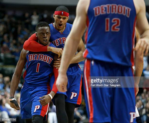 The Detroit Pistons' Tobias Harris celebrates with Reggie Jackson after Jackson's 3pointer with a minute left in the second half against the Dallas...