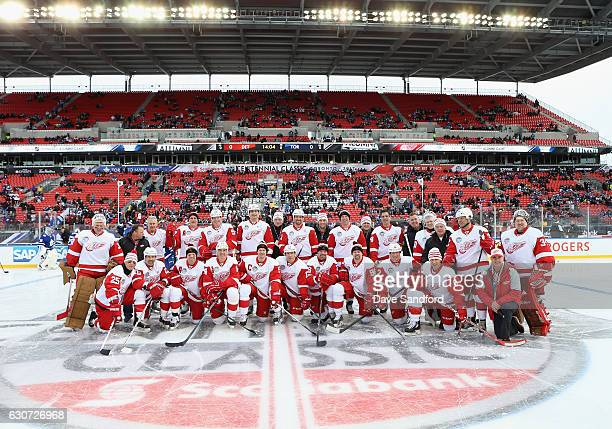 The Detroit Red Wings alumni team pose together before playing in the 2017 Rogers NHL Centennial Classic Alumni Game against the Toronto Maple Leafs...