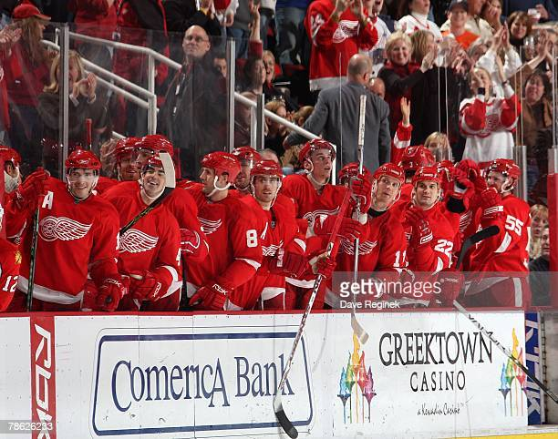 The Detroit Red Wings bench jumps up in celebration after a penalty shot goal by Valtteri Filppula during a NHL game against the Florida Panthers on...
