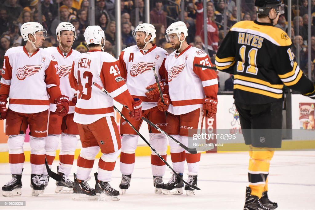 The Detroit Red Wings celebrate a goal against the Boston Bruins at the TD Garden on March 8, 2017 in Boston, Massachusetts.