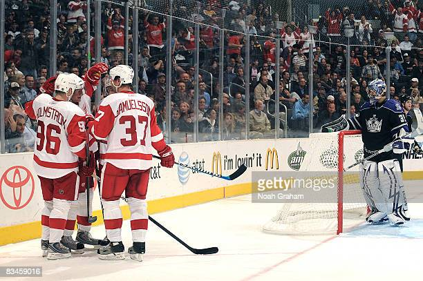 The Detroit Red Wings celebrate a second period goal from Marian Hossa against the Los Angeles Kings during the game on October 27 2008 at Staples...