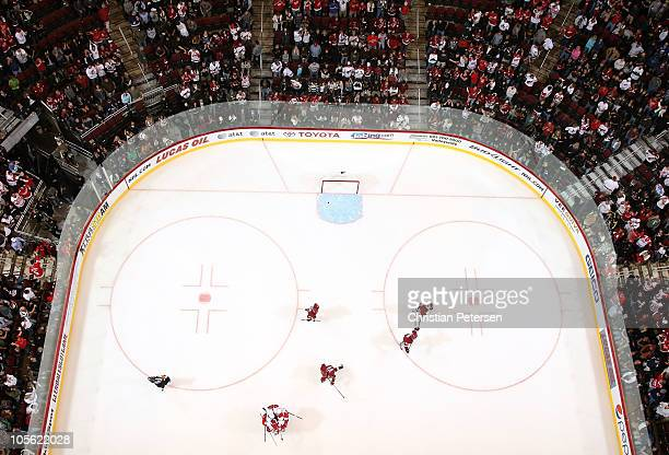 The Detroit Red Wings celebrate after Niklas Kronwall scored the game winning power play goal in overtime against the Phoenix Coyotes during the NHL...