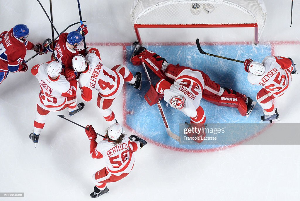 The Detroit Red Wings defend the goal against Alexander Radulov #47 and Paul Byron #41of the Montreal Canadiens in the NHL game at the Bell Centre on November 10, 2016 in Montreal, Quebec, Canada.