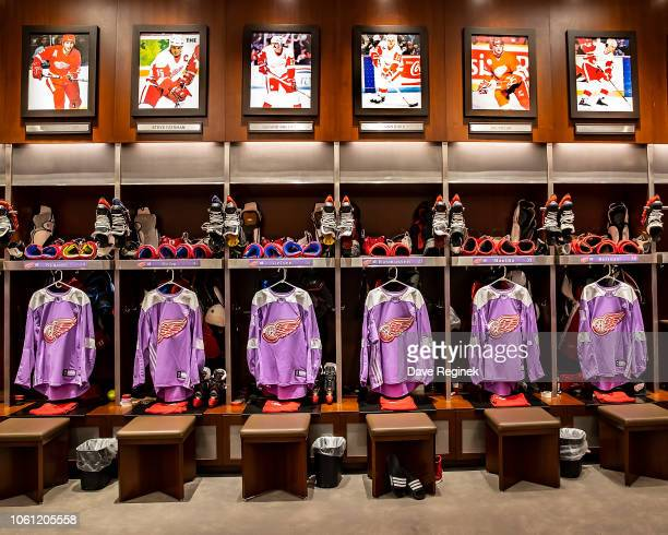 The Detroit Red Wings lockeroom set up with the Hockey Fights Cancer uniforms that will be worn for warm-ups prior to an NHL game against the Arizona...