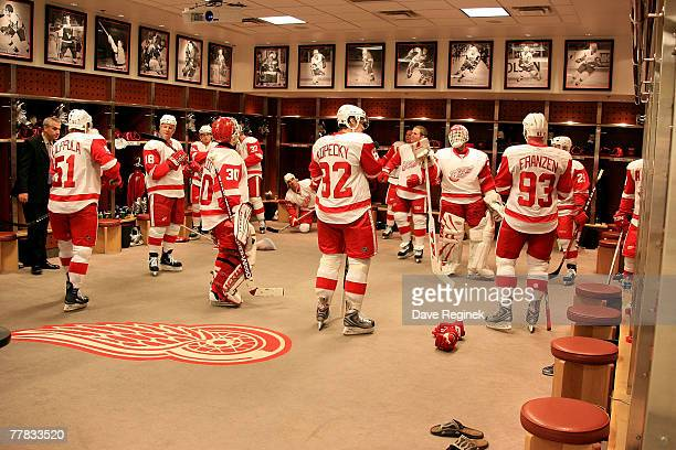 The Detroit Red Wings players gather in their locker room before meeting the Columbus Blue Jackets in an NHL game on November 9 2007 at Joe Louis...