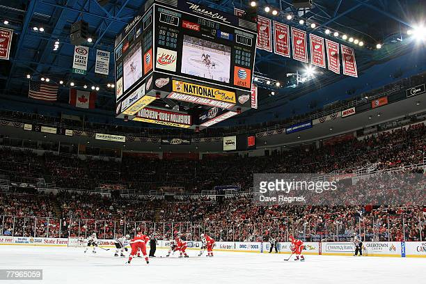 The Detroit Red Wings take on the Chicago Blackhawks in an NHL game at Joe Louis Arena November 17 2007 in Detroit Michigan