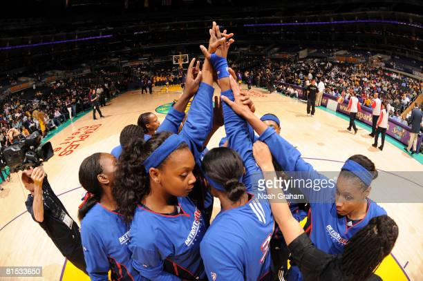 The Detroit Shock huddle together before taking on the Los Angeles Sparks at Staples Center on June 11 2008 in Los Angeles California NOTE TO USER...