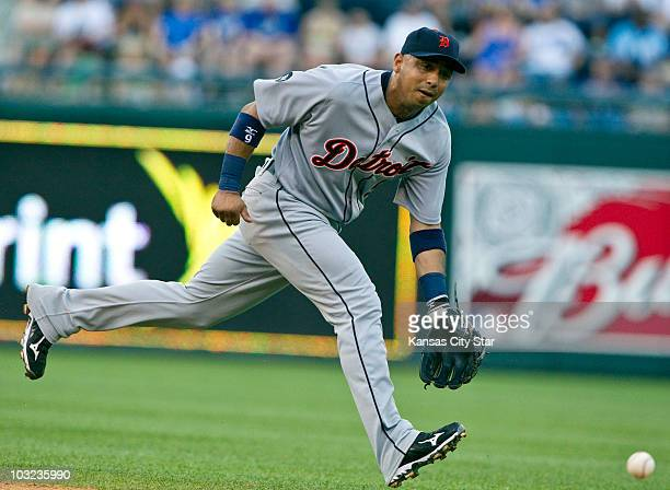 The Detroit Tigers' Carlos Guillen can't catch up to a single hit by the Kansas City Royals' Mike Aviles in the fifth inning at Kauffman Stadium in...
