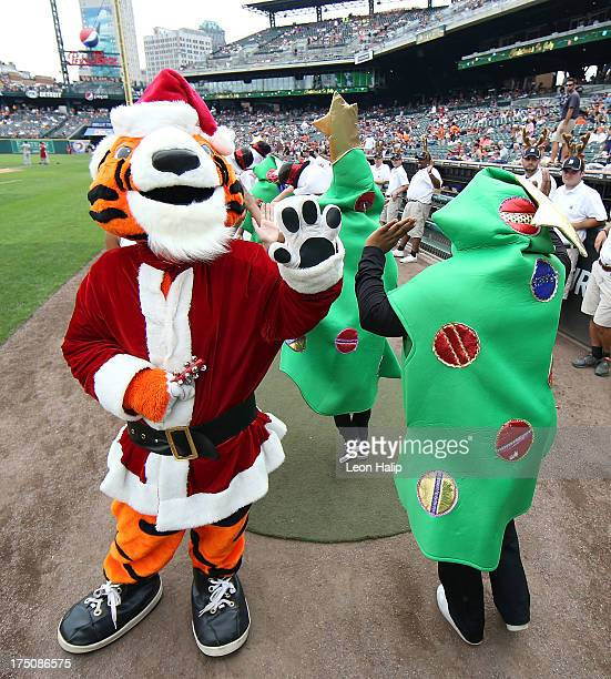 The Detroit Tigers celebrate Christmas in July during the game against the Washington Nationals at Comerica Park on July 31 2013 in Detroit Michigan