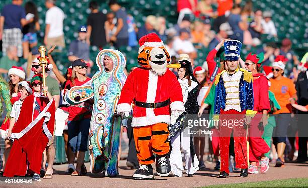 The Detroit Tigers celebrate Christmas in July prior to the start of the game against the Seattle Mariners on July 21 2015 at Comerica Park in...
