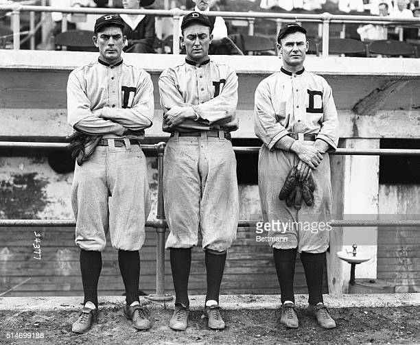 The Detroit Tigers- left to right- Bob Veach, Ty Cobb, and Sam Crawford.
