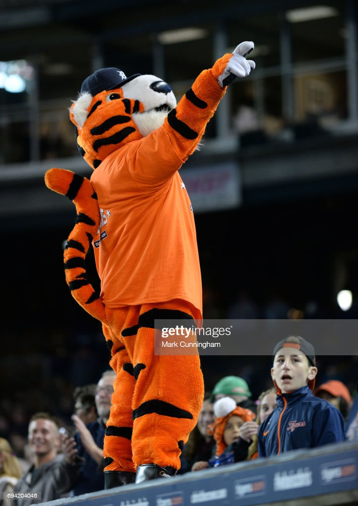 The Detroit Tigers mascot Paws entertains the crowd during the game against the Cleveland Indians at Comerica Park on May 3, 2017 in Detroit, Michigan. The Indians defeated the Tigers 3-2.