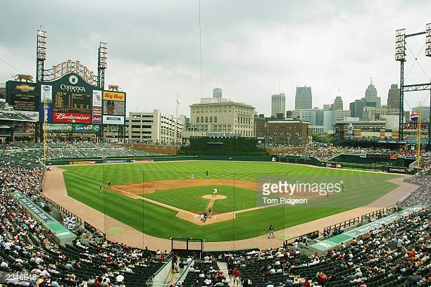 The Detroit Tigers play the field as the Chicago White Sox bat in the fifth inning of the game at Comerica Park on July 10 2003 in Detroit Michigan...