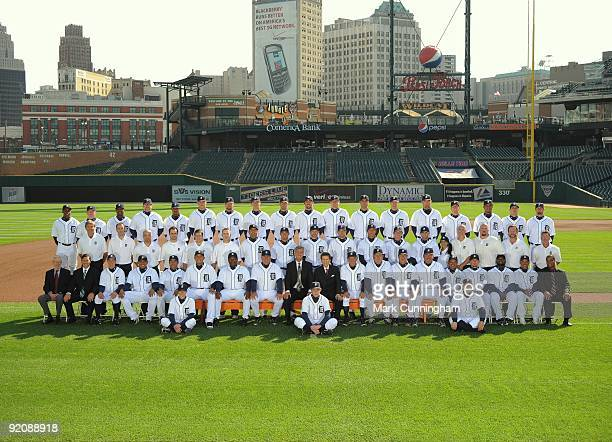 The Detroit Tigers pose for their 2009 team photo at Comerica Park on September 26 2009 in Detroit Michigan Back Row Curtis Granderson Jeremy...