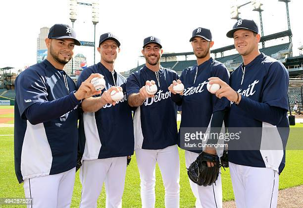 The Detroit Tigers starting pitching rotation Anibal Sanchez Max Scherzer Justin Verlander Rick Porcello and Drew Smyly pose for a photo prior to the...