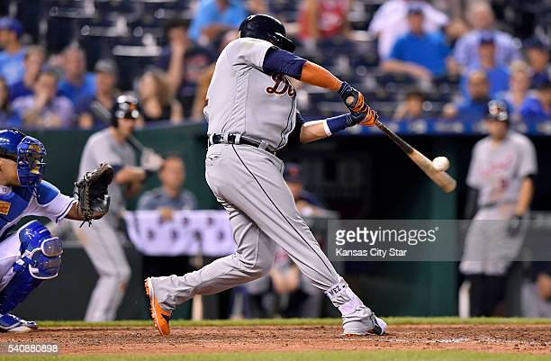 The Detroit Tigers' Victor Martinez connects on his third home run of the game, in the ninth inning off Kansas City Royals relief pitcher Chien-Ming...