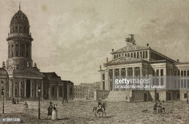 The Deutscher Dom and the National Theatre Berlin Germany engraving by Lemaitre from Etats de la Confederation Germanique by Le Bas L'Univers...