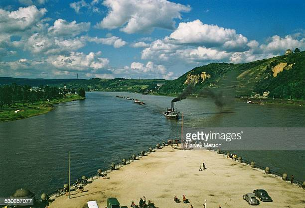 The Deutsches Eck or 'German Corner' at the confluence of the Moselle and Rhine rivers in Koblenz Germany circa 1965