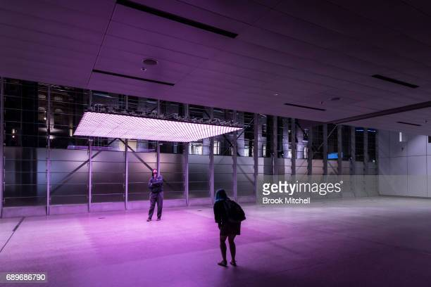 The Deuxmonts light installation on May 29 2017 in Sydney Australia Vivid Sydney is an annual festival that features light sculptures and...