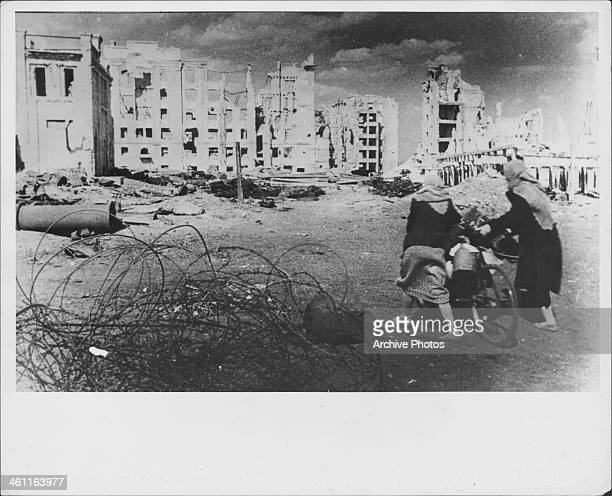 The devastation following the Battle of Stalingrad during World War Two circa 1943