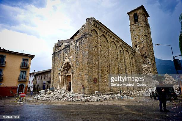 The devastation of the Church of Sant'Agostino in Amatrice central Italy on August 30 2016 Italy Italy was struck by a powerful 62magnitude...
