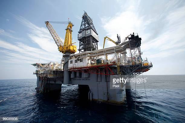 The Development Driller III which is drilling the relief well is seen at the site of the Deepwater Horizon oil spill May 11 2010 off the coast of...
