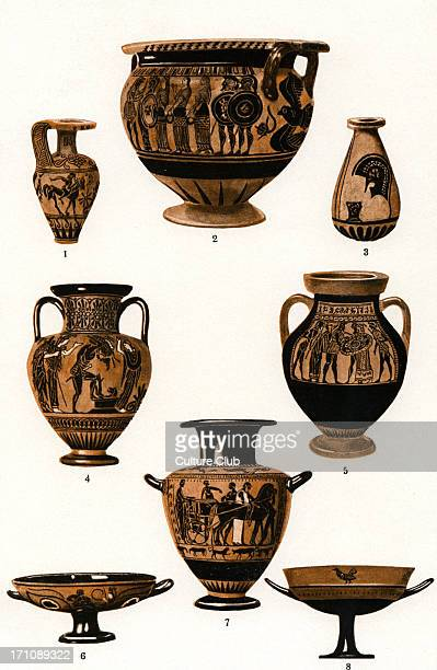 The development of Greek pottery plate 3 of 4 1 and 3 early black figure vases depicting horse riding and a hoplite 's helmet 2black figure vase...