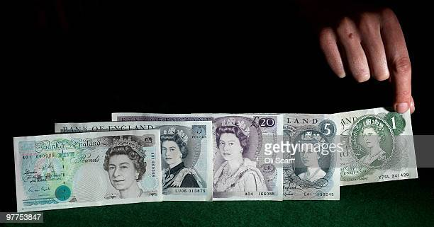 The development of the portrait of Her Majesty The Queen Elizabeth II on Bank of England banknotes is seen in the Bank of England Museum on March 16...