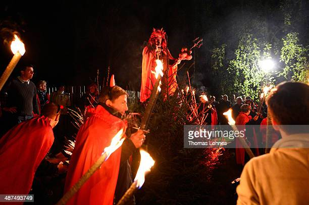 The devil and his cortage celebrate Walpurgis night on April 30 2014 at Stiege Germany Walpurgis named after Saint Walpurga is celebrated in...