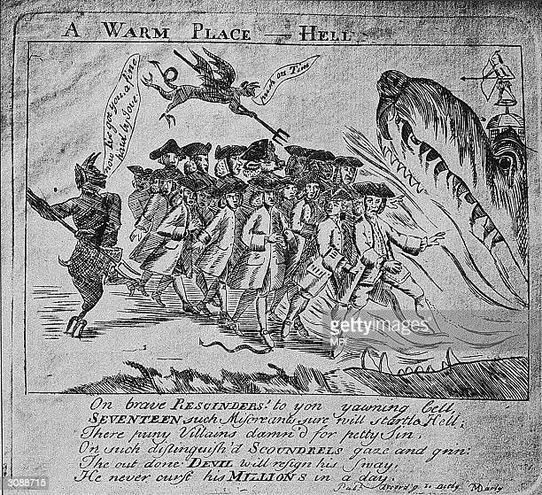 The devil herds seventeen 'rescinders' into Hell where a fearsome monster awaits them A cartoon by Paul Revere with text by Dr Benjamin Church