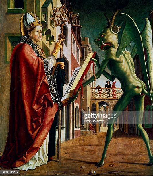 'The Devil Presenting St Augustin with the Book of Vices' c14551498 One of the four great doctors of the early Christian Church St Augustine of Hippo...