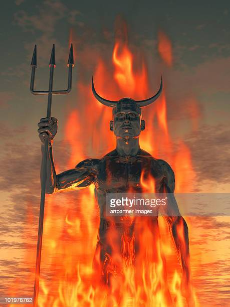 the devil /satan with trident in the fire - hell stock pictures, royalty-free photos & images