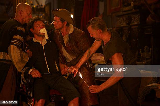 CROSSBONES 'The Devil's Dominion' Pictured Ezra Buzzington as Eisengrim Richard Coyle as Tom Lowe David Hoflin as Charles Rider