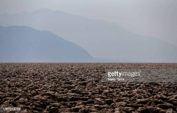 The Devil's Golf Course salt pan is viewed on August 18, 2020 in Death Valley National Park, California. The temperature reached 130 degrees at Death...