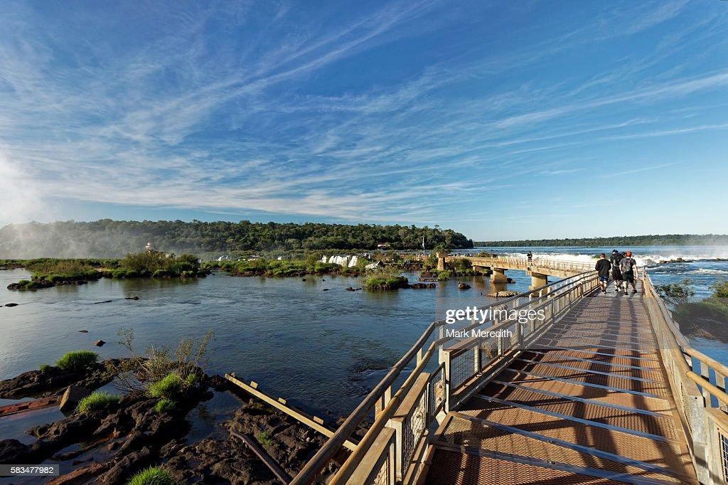 The Devils Throat walkway at Iguazu Falls in Argentina : Stock Photo