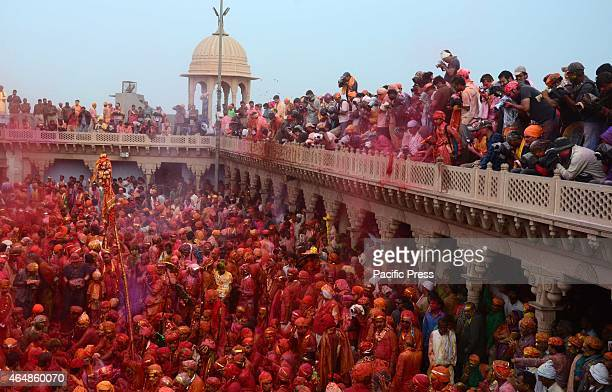 The devotee's body were covered by a coloured powder during Lathmar Holi Festival The colours fill the atmosphere as people throw abeer and gulal in...
