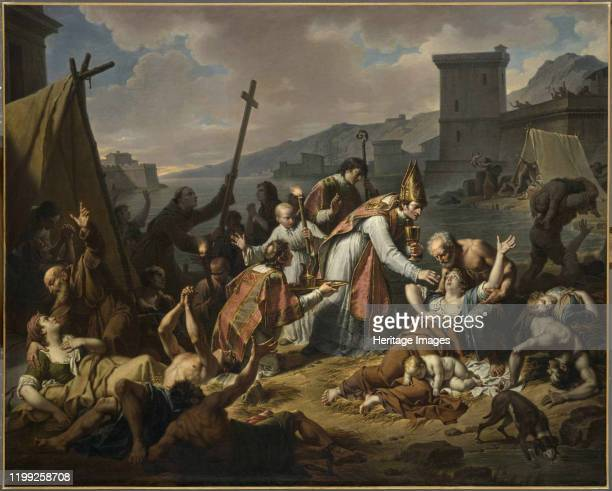 The Devotion of Monsignor de Belsunce during the Plague of Marseille before 1819 Found in the Collection of Musée du Louvre Paris Artist Monsiaux...