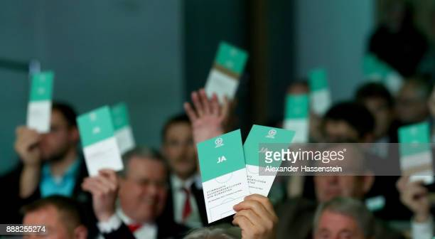 The DFB Bundestag is seen during a polling procedure during the Extraordinary DFB Bundestag at Messe Frankfurt on December 8 2017 in Frankfurt am...