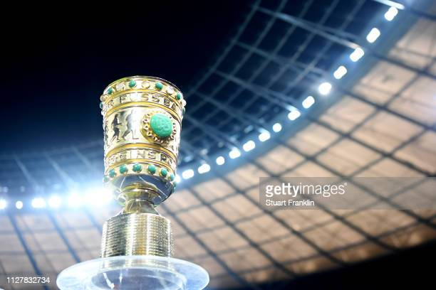 The DFB Cup is pictured ahead of the DFB Cup match between Hertha BSC and FC Bayern Muenchen at Olympiastadion on February 06 2019 in Berlin Germany