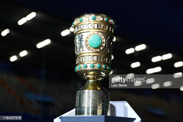The DFB Cup is seen pitch side prior to the DFB Cup second round match between VfL Bochum and Bayern Muenchen at Vonovia Ruhrstadion on October 29,...