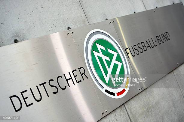 The DFB logo at the DFB headquarters pictured on November 9 2015 in Frankfurt am Main Germany The DFB presidium comes today together for an...