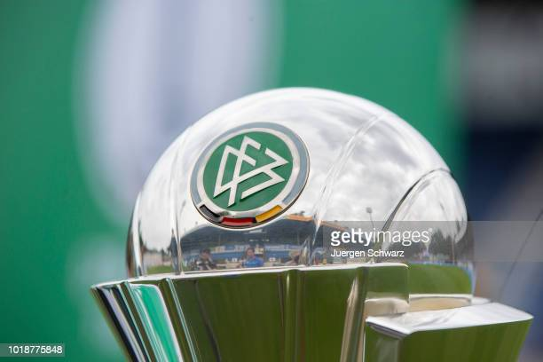The DFB Pokal der Frauen is presented during the Second FrauenBundesliga match between SV Meppen and 1 FC Koeln on August 18 2018 in Meppen Germany