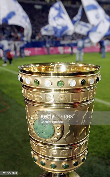 The DFB Pokal trophy is pictured during the DFB Pokal Semi Final Match between FC Schalke 04 and Werder Bremen, at the Arena auf Schalke on April 19,...