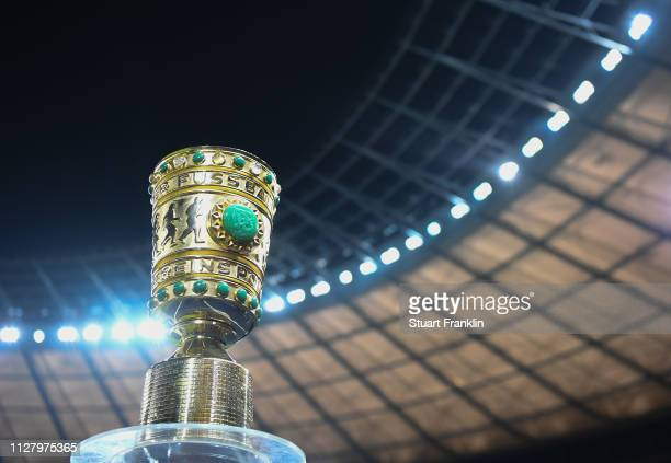 The DFB Pokal trophy is seen during the round of 16 DFB Pokal match between H at Olympiastadion on February 06 2019 in Berlin Germany